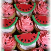 Watermelon Cupcakes cupcakes in green and red liners with fondant watermelon toppers I made. The seeds are black royal icing. Thanks for looking!