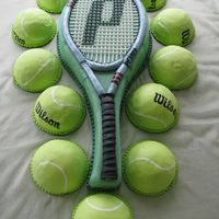 Tennis Racket Cake The racket was white cake covered in fondant, and the tennis balls are chocolate cake with peanut butter buttercream, covered in fondant...