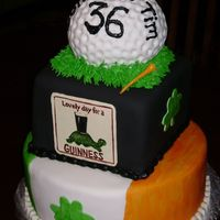 Golf Retirement Cake This cake was for a teacher who was Irish and loved Guinness and Golf. Fondant covered and hand painted.