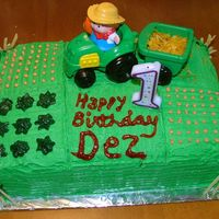 Barnyard Birthday Pasture, farmer and tractor with straw...1st Birthday