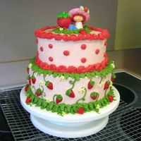 Strawberry Shortcake Birthday Cake I made this cake for my nieces 5th birthday. It's BC with MMF strawberries.