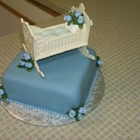 Picture_090.jpg Fondant covered with chocolate cradle. Crib matress/pillow was made from large marshmallows covered in fondant. Artificial flowers and...
