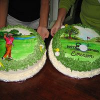 Hand Painted Cookies Hand painted cookie cakes for golf themed b-day. 12 inch sugar cookies on top of 14 inch carrot cakes.