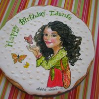 Hand Painted Cookie   Edible hand painted cookie for 9yr old b-day girl.