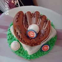 Baseball Glove grooms cake for a cubs fan