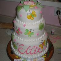 Hand Painted   Fondant covered with fondant accents,hand painted to match invitation.Gel paste food colors waterd down.
