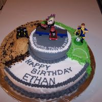 'my Favorite Things To Do' Birthday Cake  This was for my son's 10th birthday. These are his favorite things to do, play soccer, ride his four-wheeler and skateboard. It's...