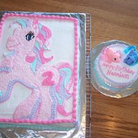 "My Little Pony Cake With 6"" Round To Go With It   Here's a picture of both of the cakes. My neice can play in the small one!"