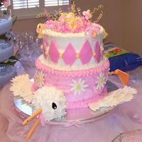 Stork Baby Shower Thanks to Ginger08 for this way fun idea! It is iced in buttercream with MMF stork head legs and wings. Top is binkies made out of MMF. Way...