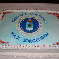 Retirement My dad retired from the Air Force last year. All buttercream with a frosting sheet picture.