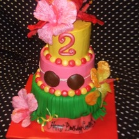 Luau Cake Design credit goes to Pinkcakebox...My customer wanted this cake, we did make it affordable for her by using artifical flowers &...