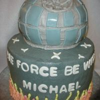 "Michael's Death Star   Vanilla cake with bc icing, mmf accents. Death Star is sports ball pan on top of 8"" round."