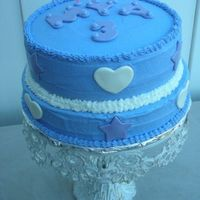 Mya's Purple Cake   Even though the photo is blue, the cake is purple. Butttercream with mmf accents.