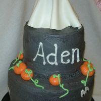 "Aden's Spooky Birthday  Thanks to adams2shop for a simple halloween cake. 2, 6"" rounds stacked on 2, 9"" rounds, covered in black buttercream with MMF..."