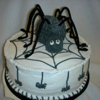 "Itsy-Bitsy Spider  Thank you thecakemaven for making such a cute halloween spider cake! 10"" round yellow cake covered in Buttercream. Mini ball for her..."