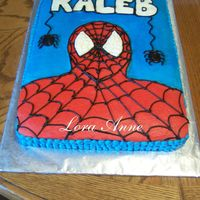 Spiderman Cake For Kaleb One layer WASC cake with buttercream frosting. My 2nd Spiderman cake....Must be popular with 4 yr olds this year. Inspired by Kristy on...