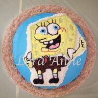 Spongebob Cake Spongebob cake for cousin's son's 3 year old birthday party. I put character cake on round cake frosted blue with little goldfish...
