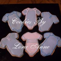 Baby Boy Onesies   I made these for two of my pregnant friends who are expecting boys.Cookies inspired by CindyM and Mommy23 w/ Antonia RI