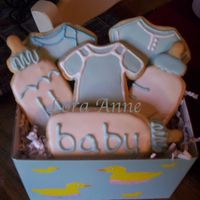 Baby Boy Cookie Gift Basket   I made this basket for a baby shower gift. Cookies inspired by CindyM and Mommy23 w/ Antonia RI.