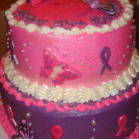 35 And Alive Birthday cake done for a friend who's a breast cancer surviver.