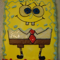 Spongebob Squarepants   sheet cake all buttercream, and gels.
