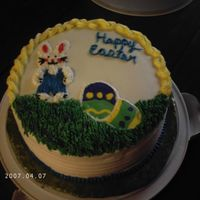 Easter Bunny And Eggs 4 layer carrot cake with cream cheese filling, icing is bc. started off doing a fbct but it broke so I did it free hand.