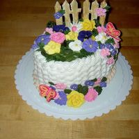 Course Ii Cake I love how this cake turned out...if I do say so myself!! I painted the royal icing pieces (the fence & the butterflies to add some...