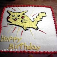 Pikachu This ia a cake I did for my nephew for his 8th b/d. He loves pikachu.This was a bananna cake with peanut butter filling. It was pretty good...