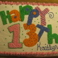 13Th Birthday Buttercream, Strawberry cake with strawberry filling. This was for my daughter's 13th birthday
