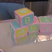 Baby Blocks - The Sequel  This is my 2nd attempt at a baby block cake. And for the 2nd time I am swearing never to do it again! I iced in buttercream and covered in...
