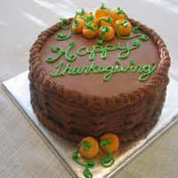 Thanksgiving Cake I ended up making 2 of these cakes since we're visiting my in-laws and then off to my cousins for dessert. Chocolate buttercream and...