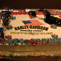 Harley-Davidson Cake I made this for my ex-bother-in-law's birthday. He loves Harley's. The logo is made of rice paper and I put a toy bike as the...