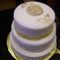 50Thanniversary, Antique Gold 3 layer fondant covered 50th Anniversary cake. 1st layer white cake w/cannoli, chocolate chip filling, 2nd layer chocolate cake w/fresh...