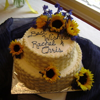 Bridal Shower Basketweave in buttercream with fresh sunflowers and blue flowers (forget the name of them!)...