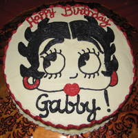 Betty Boop Birthday! Triple chocolate cake with buttercream frosting... Betty Boop handsketched.