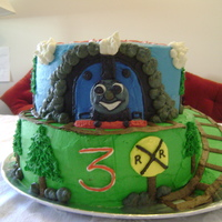 Thomas The Tank Inspired by many awesome cakes on CC... This is an all vanilla and buttercream cake for a 3rd birthday boy whom loves Thomas!