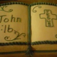 Bible Cake I made this tonight. I used the Wilton Book pan. The border is a light lavander. My camera is on the fritz again so the picture isn't...