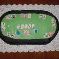 "Texas Holdem Poker Cake  It's an 8"" square and an 8"" round cut in half to make an oval, buttercream with fondant rail, fondant cards, and candy chips..."