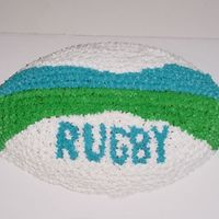 3D Rugby Ball  This is from the Wilton First and Ten football pan. It's a copy of a real Gilbert rugby ball in their signature blue and green trim...