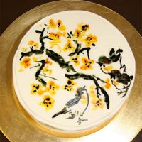 Three Birds & Flower Cake (2) This is the second picture of the three birds to which, I added a tree branch with yellow flowers. All was rendered by hand with liquid...