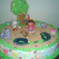 Dora The Explorer Everything in the cake except the caracters are edible the hardest part was the sugar tree in the back