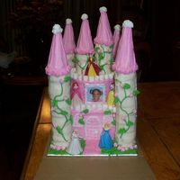 My Very First Castle Cake  3 layer 8 inch square, 2 layer 6 inch round, ice cream cones. covered with butter cream icing. made for a friends little girl . She loved...