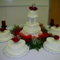 Heart Wedding Cake Heart shaped buttercream cakes covered in cornelli lace.