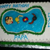 Swimming Pool Cake Chocolate cake covered in buttercream with handmade fondant figures.