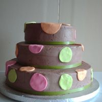 Chocolate Dots Very basic cake for my Aunt's 30th wedding anniversary. Covered in chocolate butter cream with colored chocopan dots. Not a fan of the...