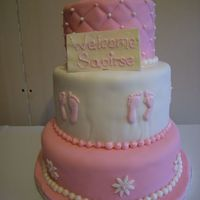 Pink Christening 3 Tiered cake covered in white chocolate fondant. GP booties. White chocolate plaque. RI foot prints. Fondant pearl border.