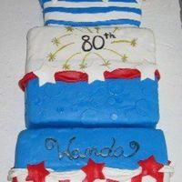 Patriotic Birthday Cake This project took on a life of its own once I found the recipe for MMF. It was originally to be a simple 11x15 cake (I double it and torte...