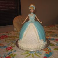 Cinderella Barbie Cake chocolate fudge cake with fondant and buttercream accents