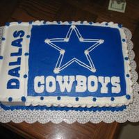 Dallas Cowboy Birthday Cake inspired by robzc8kz. needed a quick cake for a dallas cowboy fan. yellow cake with extender recipe with buttercream. tlf