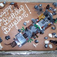 Lego Indiana Jones  I made this cake for my great-nephew. It is yellow cake with choc. BC icing. Rocks, snakes, skulls and bones are fondant. The lego kit I...